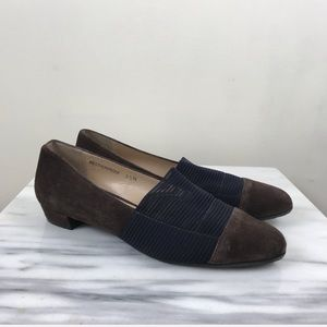 Ron White Brown Suede Black Slip On Flats Shoes